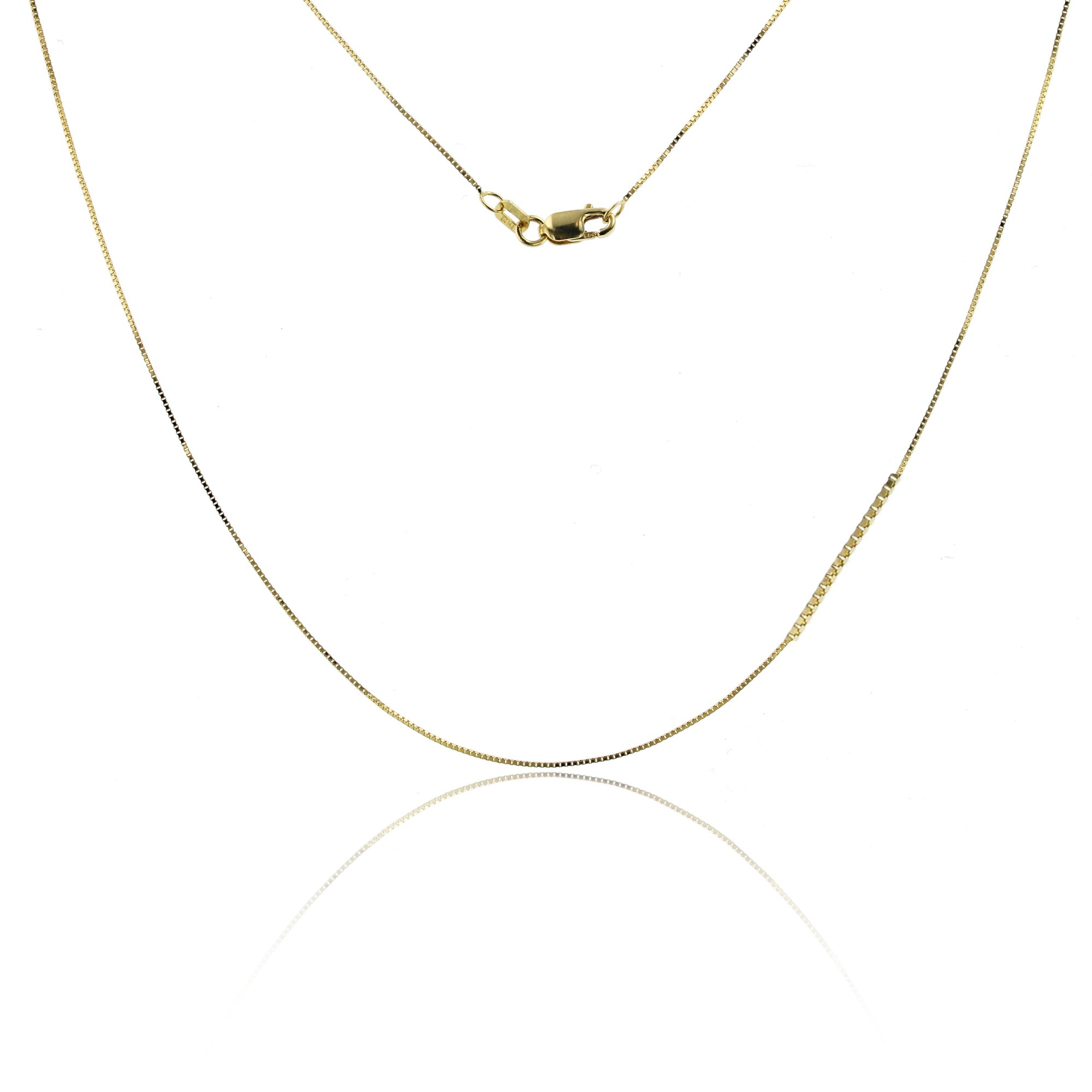 14K Yellow Gold Box 012 0.72mm 24'' Pendant Chain by Decadence