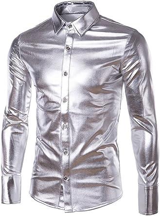 SILKQA - Camisa de Vestir para Baile de graduación de Color sólido con Ajuste Regular para Hombre - Dorado - XX-Large: Amazon.es: Ropa y accesorios