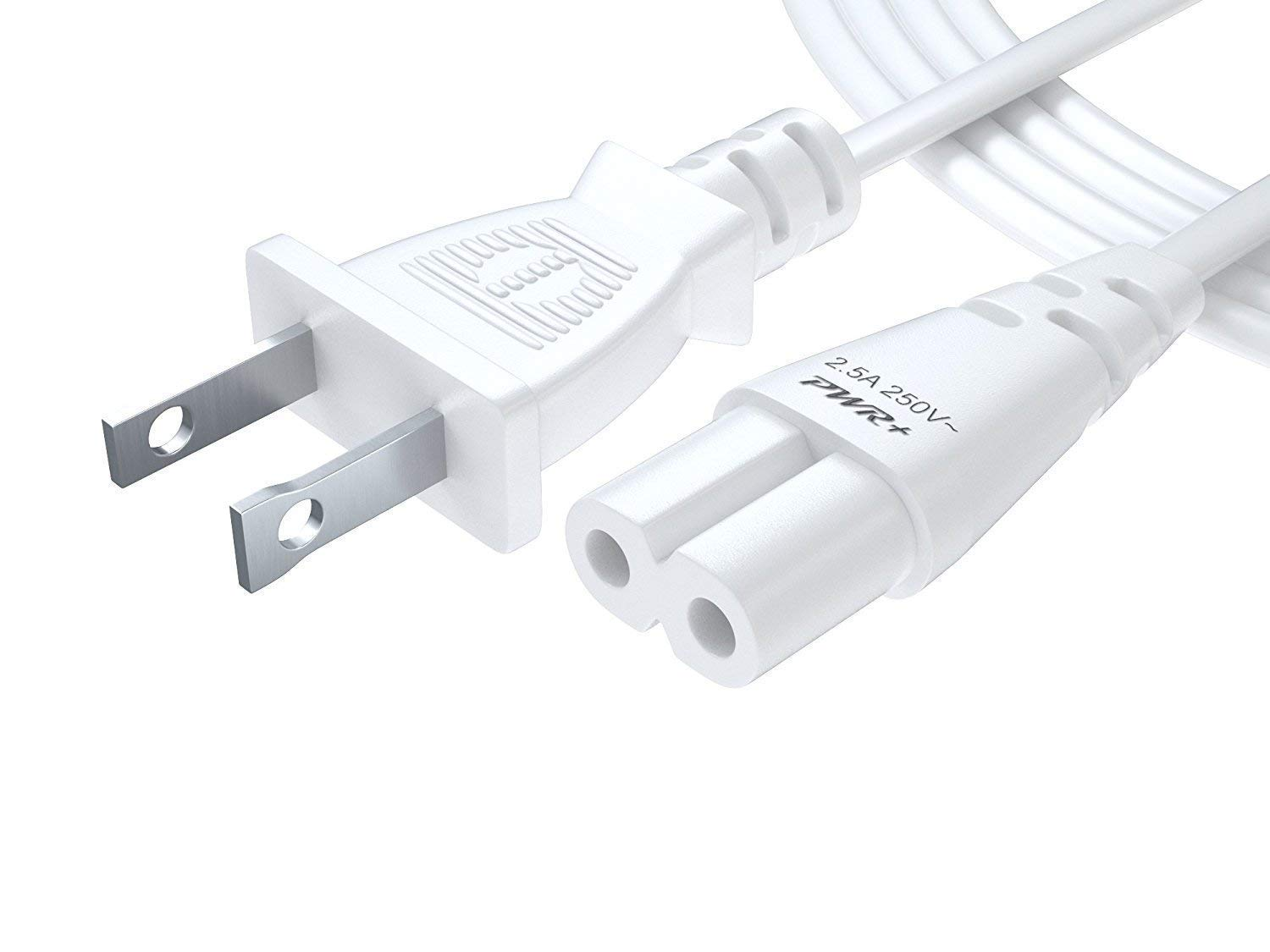Pwr TV Power Cord 6 Ft Cable for Samsung LG TCL Sony: UL Listed 2 Prong AC Wall Plug 2-Slot LED LCD Insignia Sharp Toshiba JVC Hisense Electronics UN65KS8000FXZA UN40J5200AFXZA 43UH6100 White