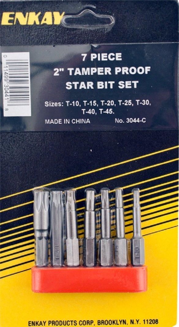 Enkay 3044-C 2-Inch TamPer Box Proof Screw Bit Set, 7-Piece Enkay 3044-C 2-Inch Tamper Proof Screw Bit Set