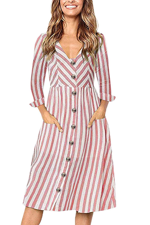FUTURINO Damen V Ausschnitt Kleider Knopf Langarm Streifen Sommerkleider Elegant Vintage Cocktailkleid mit Tasche Partykleid