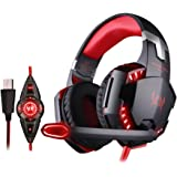 KOTION EACH G2200 Gaming Casque Gamer Headset Gaming Headphone Gamer Micro- casque Casque filaire avec USB 7.1 Casque avec Micro et LED pour PC