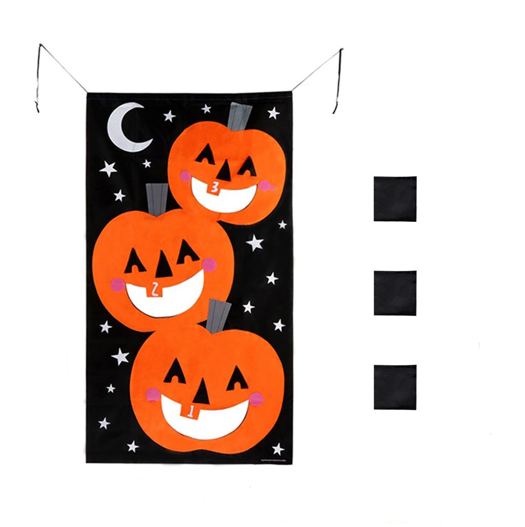 YuQi Pumpkin Bean Bag Toss Game, Halloween Games for Kids, Party Halloween Decorations,3pcs Bean Bags Pumpkin Banner 30 x 55 Inches Black Orange