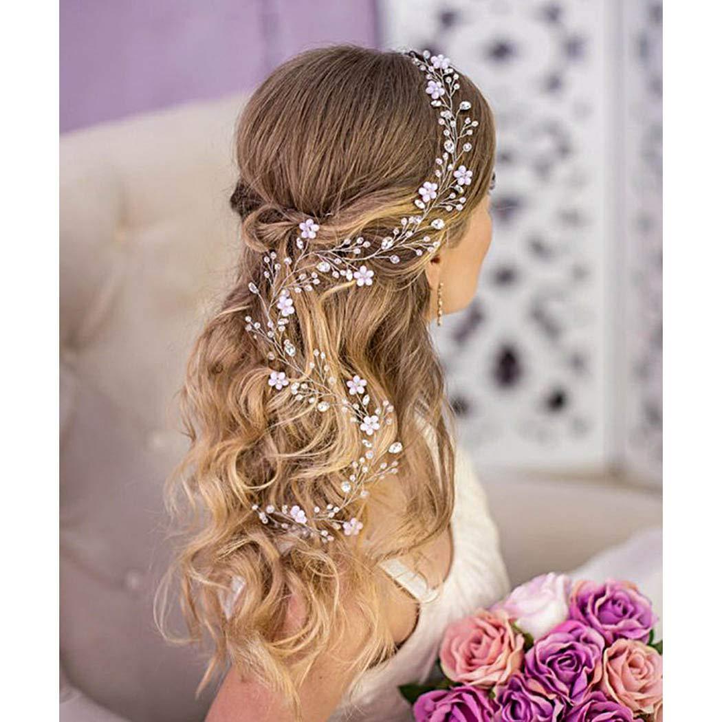 white cherry blossom and campanula Bridal babys breath hair vine with gypsophila flower