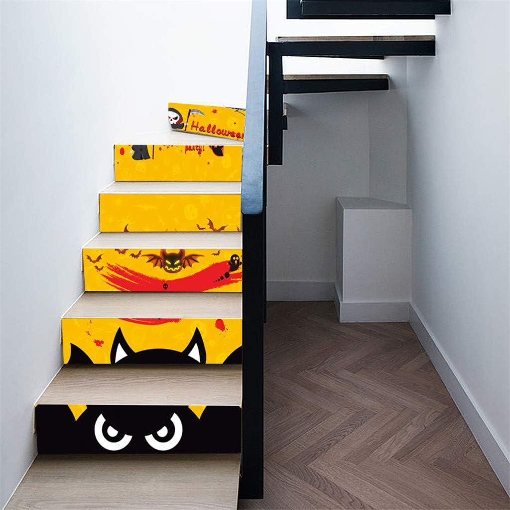LuckyBB Calcomanías para Escalera, calcomanía 3D de Halloween, diseño de Cuervo con Piedra de Tombstone para Escalera, Adhesivo Impermeable para Pared, decoración para el hogar, Fiesta, Bar: Amazon.es: Hogar