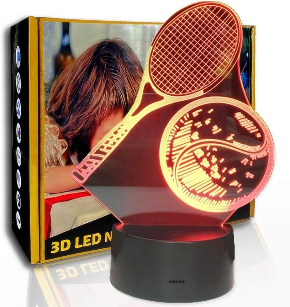 JINYI Modelado de tenis con luz nocturna 3D, lámpara de ilusión LED, decoración del hogar, E- Base para despertador (7 colores), Luz creativa, Lámpara de noche