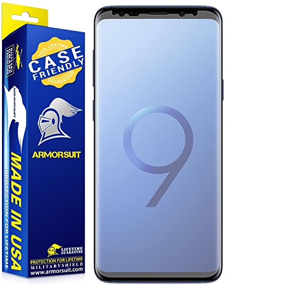 sale retailer bfc7a 28dba ArmorSuit Samsung Galaxy S9 Plus Screen Protector Anti-Glare Case Friendly  MilitaryShield Screen Protector for Galaxy S9 Plus - Matte Anti-Bubble Film
