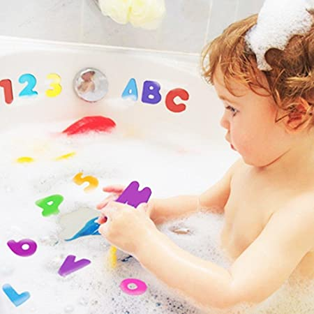 Activity & Entertainment SevenMye 36 pcs Alphabet Baby Bath Toy Foam Letters Numbers with 37CM Bath Toy Storage Organizer Bag Large vision