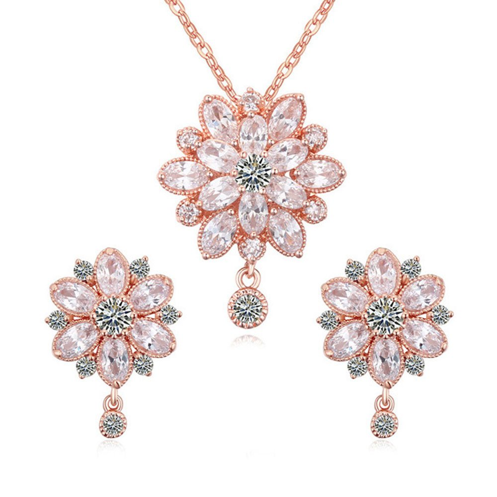 Women's Swarovski Elements Crystal Flower Pendant Necklace Earrings Wedding Jewelry Sets for Bridesmaids