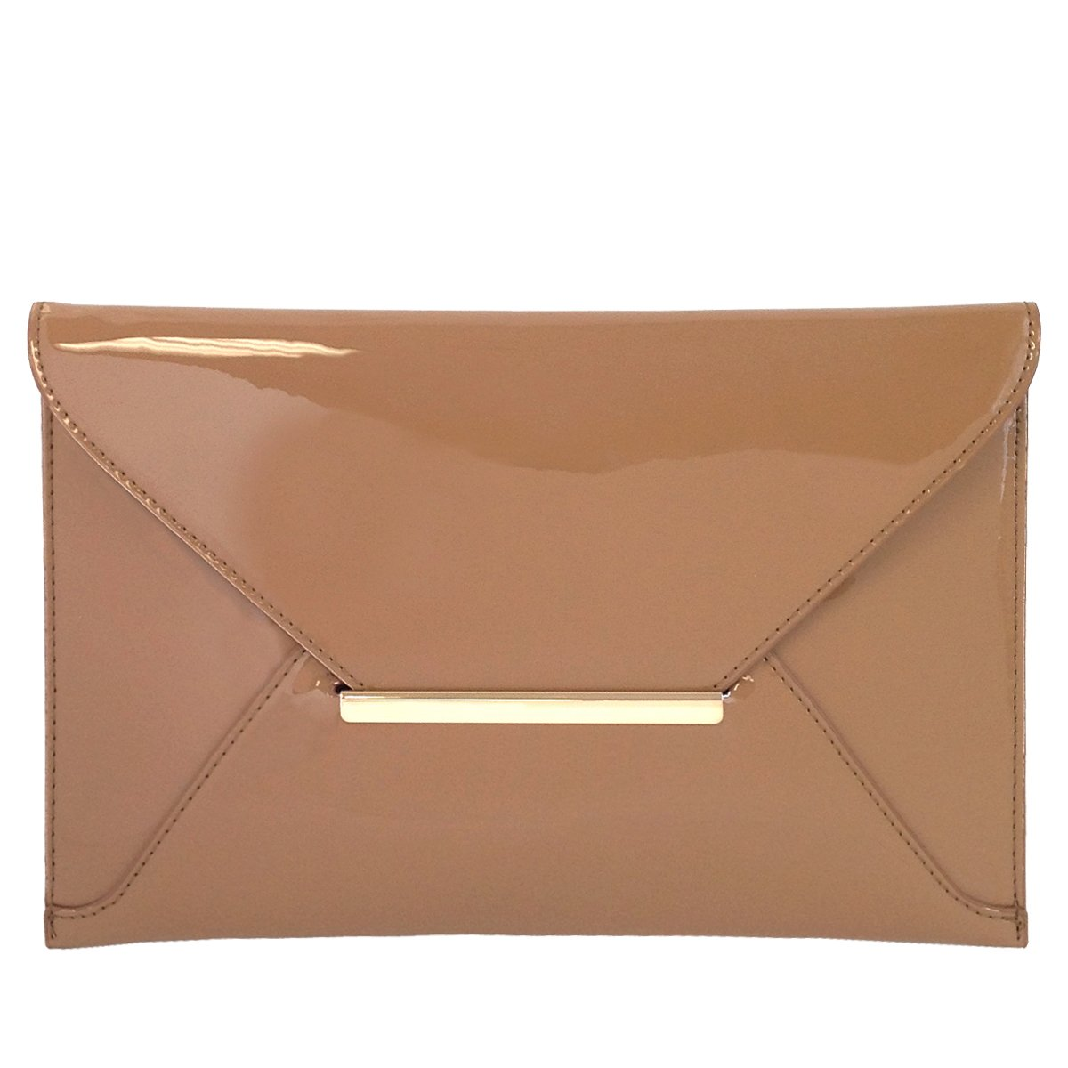 Faux Patent Leather Envelope Candy Clutch Bag, Taupe