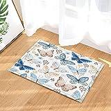 NYMB Watercolor Flying Butterflies in Vintage Decor Bath Rugs, Non-Slip Doormat Floor Entryways Indoor Front Door Mat, Kids Bath Mat, 15.7x23.6in, Bathroom Accessories