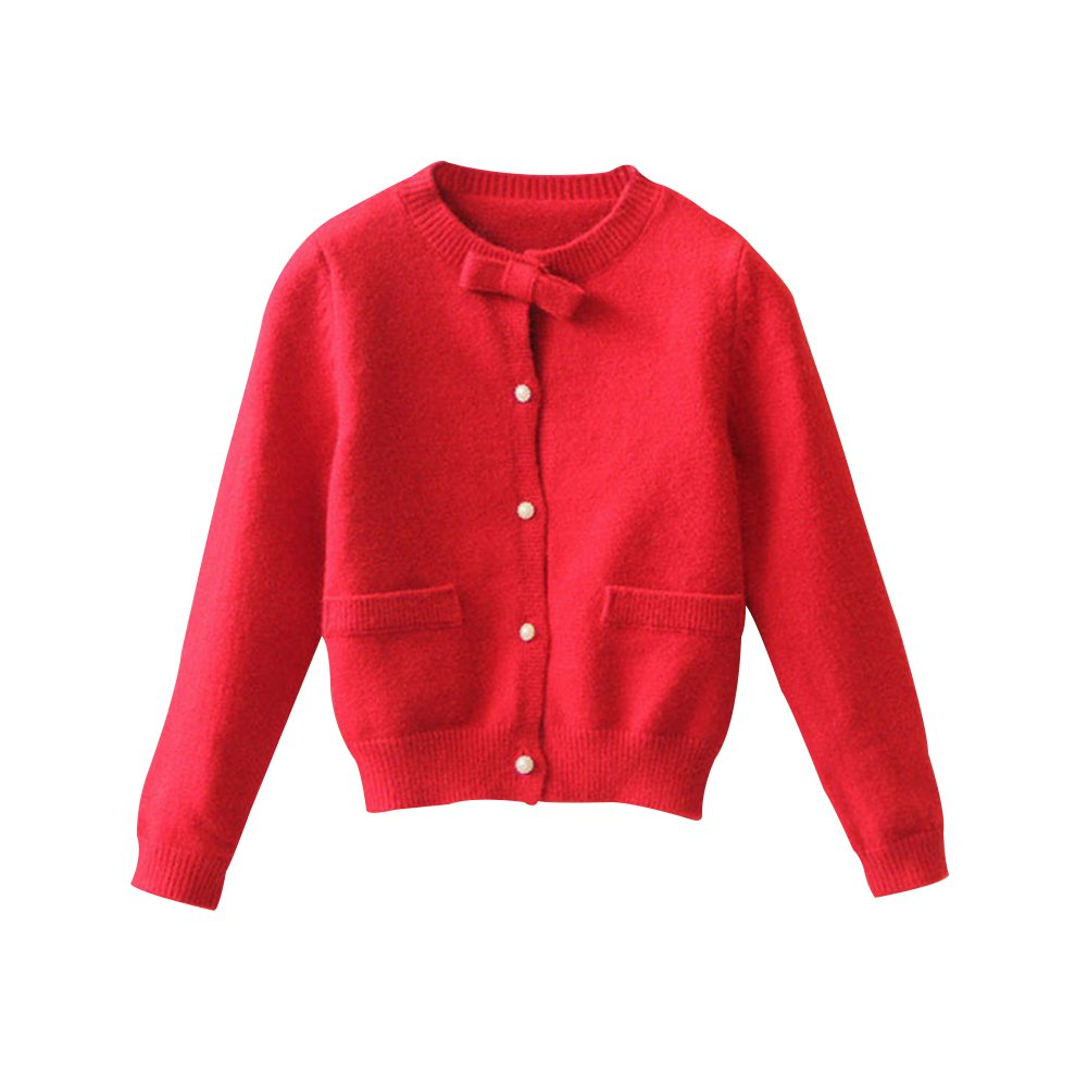 Little Girls Crewneck Cardigans Button Long Sleeves Coats Outwear