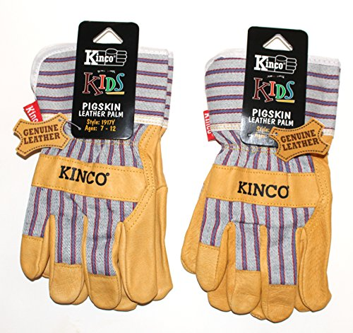 Kinco 1917 Youth (2-Pack) - Work Gloves for Kids - Perfect Easy-on/Easy-off glove for Kids - Soft Durable Pigskin Leather with Safety Cuff and Wing Thumb - Ages 7-12 (dimensions of glove listed below) -