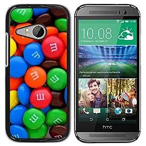 PC/Aluminum Funda Carcasa protectora para HTC ONE MINI 2 / M8 MINI candy chocolate blue red sweets / JUSTGO PHONE PROTECTOR