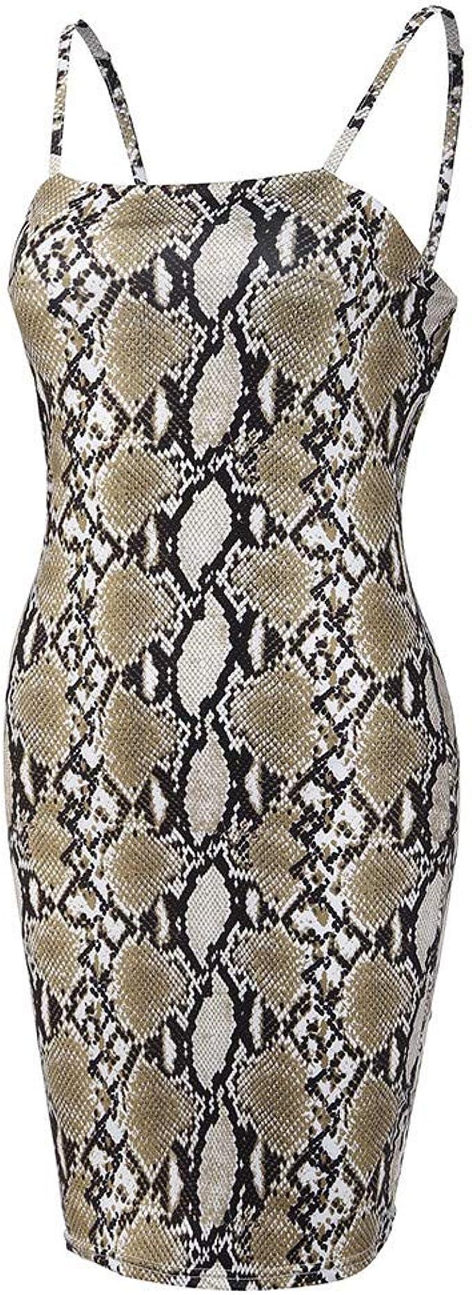 BNisBM Women Spaghetti Strap Sleeveless Serpentine Printing Tight Backless Summe Bodycon Midi Dress