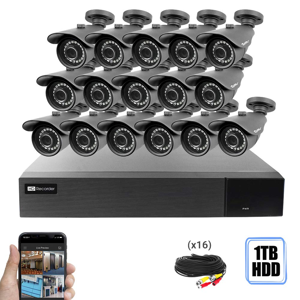 Best Vision 16CH 4-in-1 HD DVR Security Camera System 1TB HDD , 16pcs 1080P-Lite High Definition Outdoor Cameras with Night Vision – DIY Kit, App for Smartphone Remote Monitoring