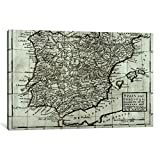 iCanvasART 1-Piece Map of Spain and Portugal, 1731 Canvas Print by Hermann Moll, 60'' x 40''/1.5'' Deep