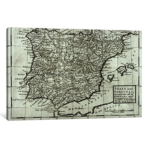 iCanvasART 1-Piece Map of Spain and Portugal, 1731 Canvas Print by Hermann Moll, 60'' x 40''/1.5'' Deep by iCanvasART