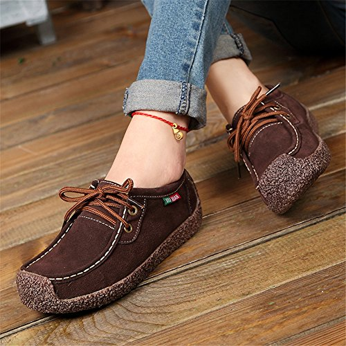 Sneakers Casual Women's Leather Fashion Shoes Nubuck Flats Brown Up Loafers Lace Snail 6q60vwH