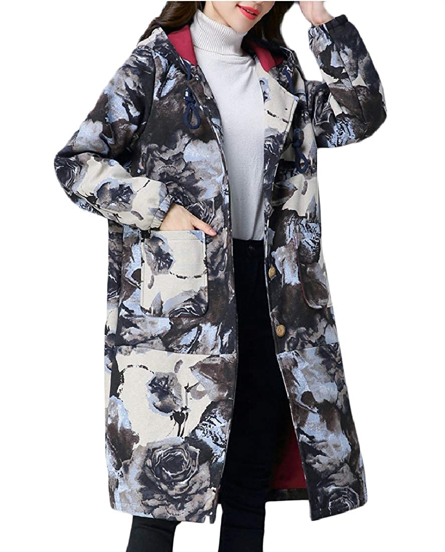 YUNY Womens Retro Loose Floral Hoodie Padded Outwear White XS