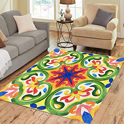 (Pinbeam Area Rug Portuguese Azulejo Tiles Green Gorgeous Patterns for Cases Home Decor Floor Rug 2' x 3' Carpet)