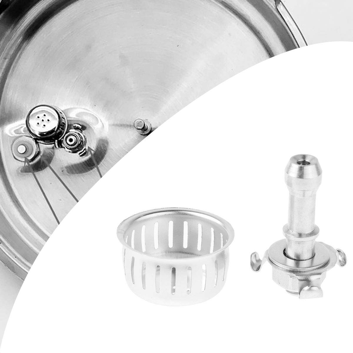 Freebily 2 Sets Universal Kitchen Pressure Cooker Cap Relief Jigger Valve Replacements with Anti Blocking Cover Bracket and Gasket Silver One Size by Freebily (Image #6)