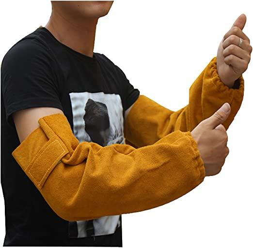 Heat Resistant Split Cowhide Leather Welding Sleeve Elastic Cuff Blue