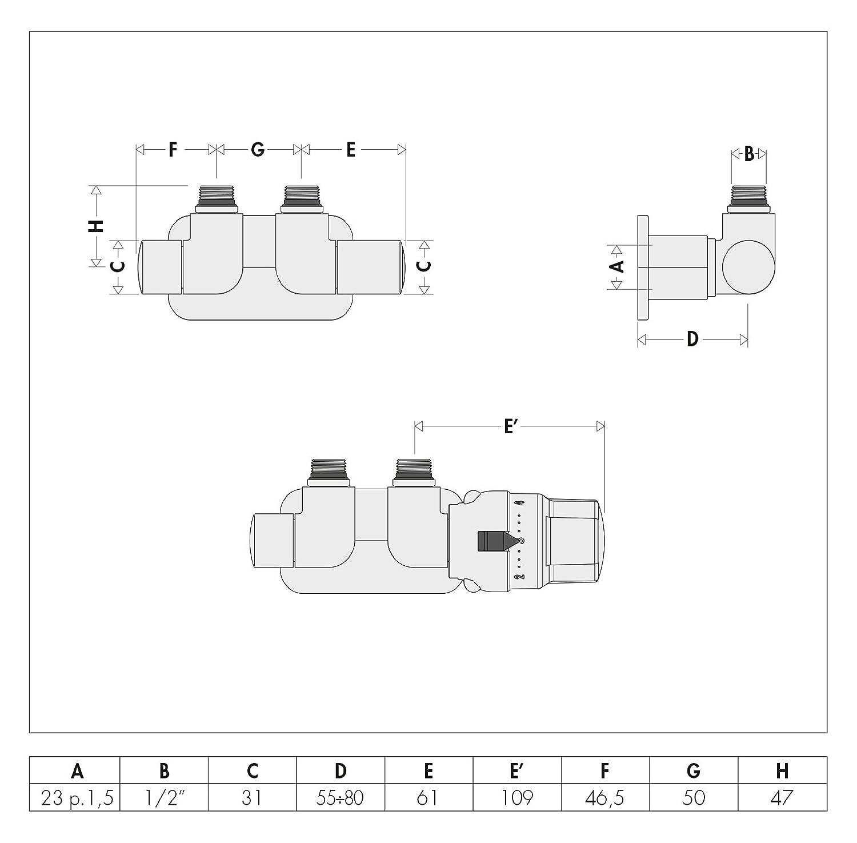 Caleffi Set Heizk/örperventile 3-achsen zentral rechts 1//2 Zoll f/ür Badheizk/örper und Heizk/örper Thermostatventil mit Thermostatkopf Chrom mit Anschl/üssen f/ür Kupferrohr 15mm
