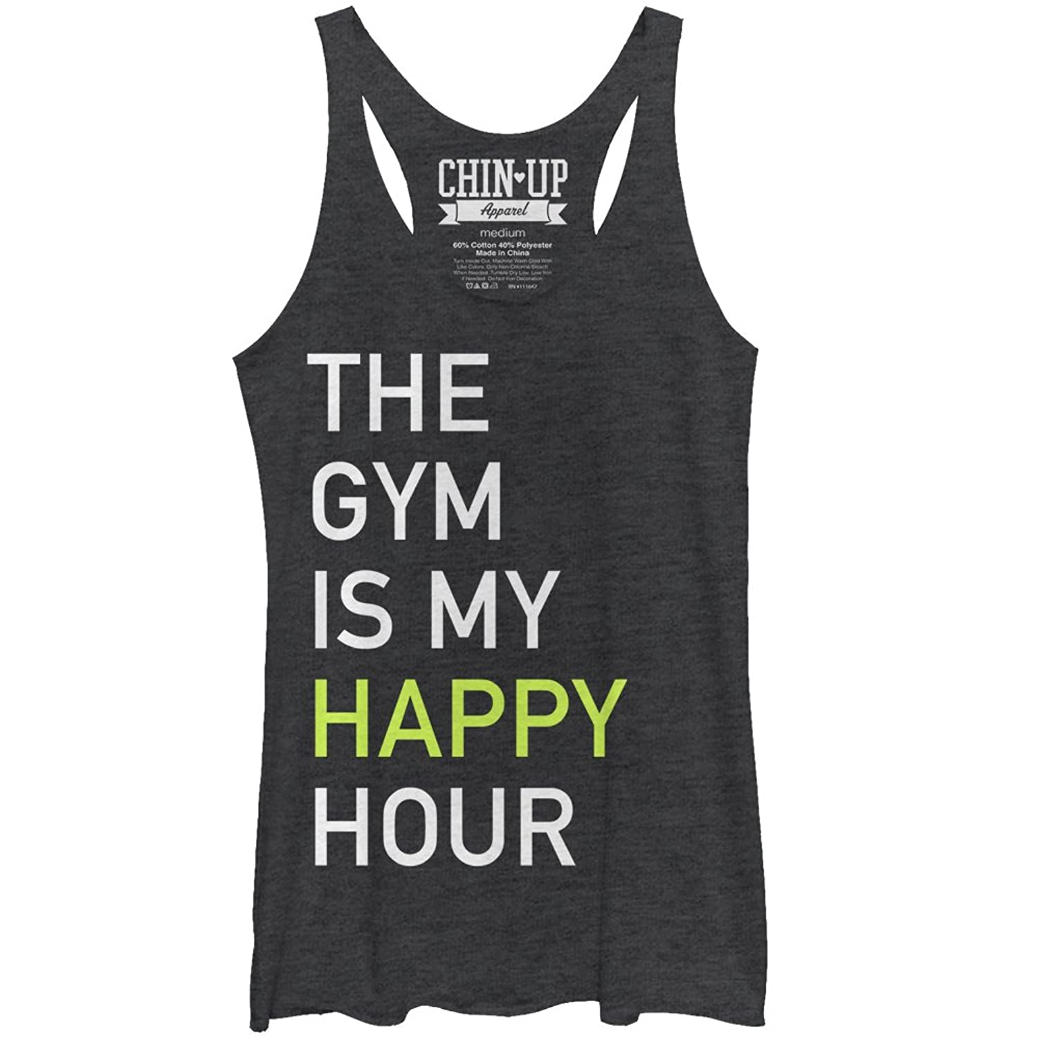 CHIN UP Gym Happy Hour Womens Graphic Racerback Tank