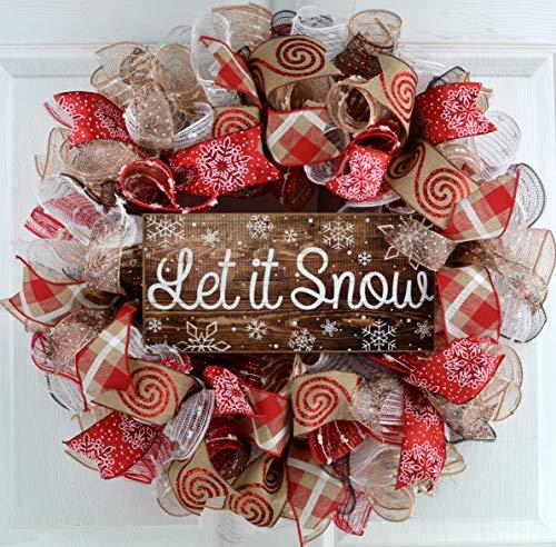 - Let It Snow Wreath | Winter Christmas Mesh Front Door Wreath; White Red Brown Jute