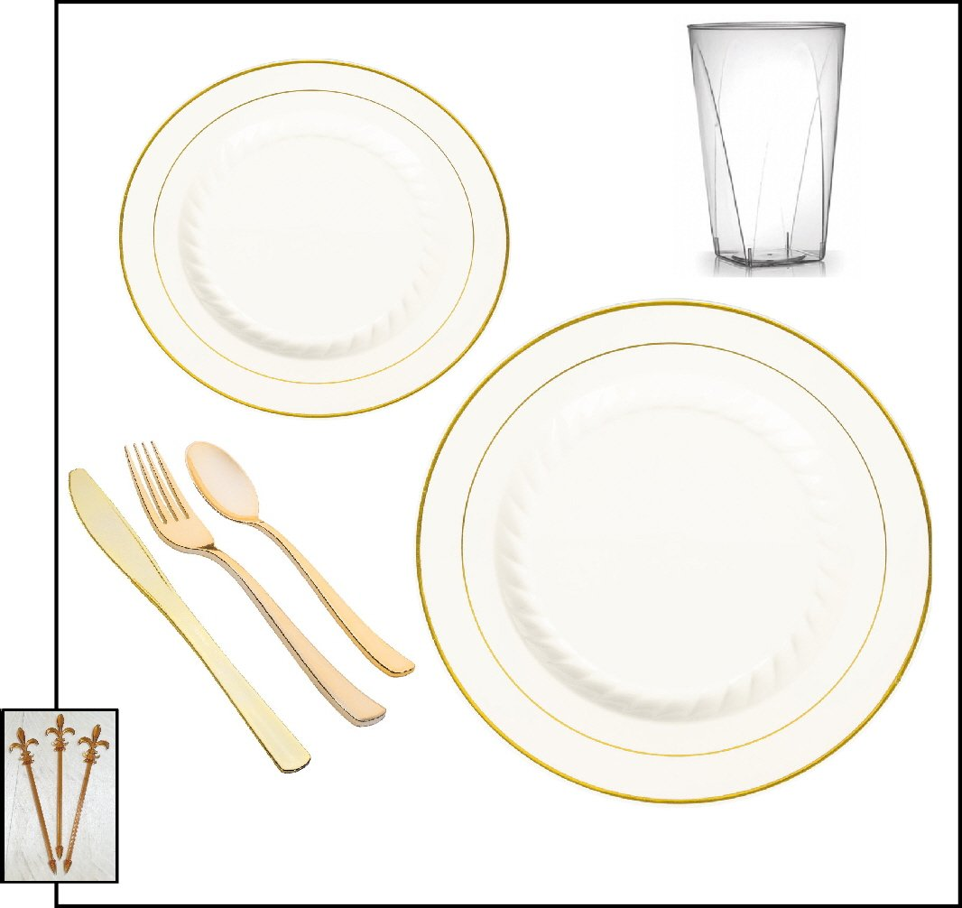 600-piece Party Combo Pack, Premium Plastic Bone w/Gold Dinner Plates, Gold Cutlery and Tumblers w/Signature Party Picks - SERVES 100