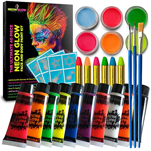 40 Piece Glow in The Dark Face & Body Paint Kit - UV Neon Fluorescent Paint - Non Toxic, Hypoallergenic, Lab Tested - Makes up 150+ Faces with 10 Tubes, -