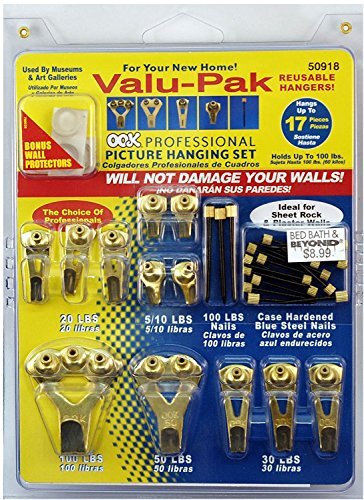 OOK 50918 Professional Picture Hanging Value Pieces Kit, hangs up to 17 frames (3) by Ook
