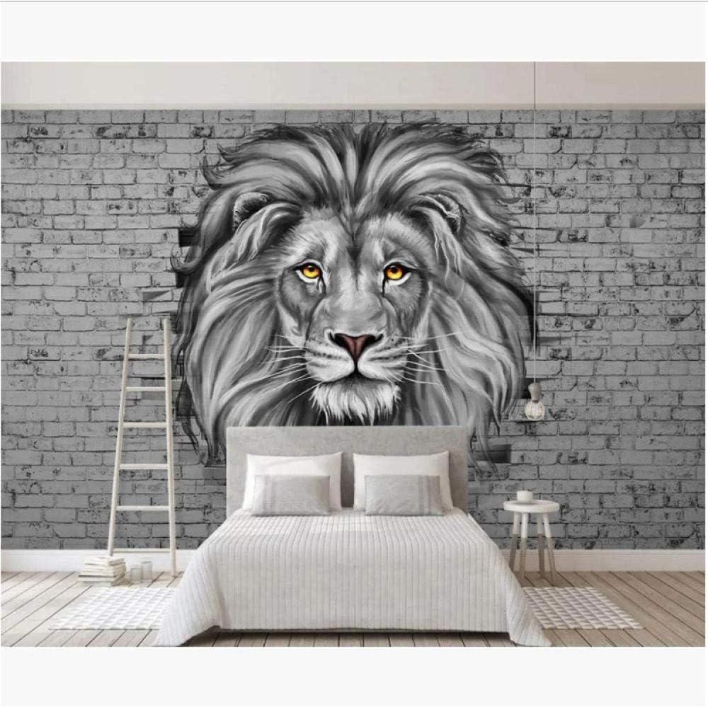 Papel pintado moderno de la pared del ladrillo Pintura del león ...