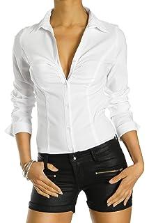 ab10e67f5f bestyledberlin Damen Blusen Gestreift, Streifendessin Hemden Tailliert,  Stretch Oberteile t25z