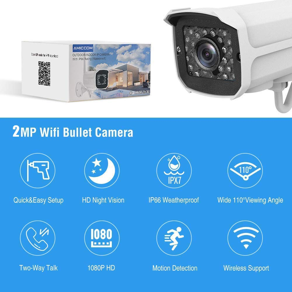 Outdoor WiFi Security Camera- 1080P HD Video Surveillance System - WiFi, Waterproof, IP Night Vision Outdoor Camera with 2-Way Audio and iOS, Android Compatibility (02) by AMICCOM (Image #2)