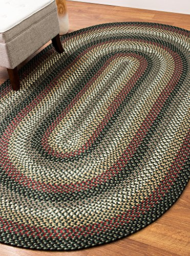 Colonial Green Area Rug, Braided Textured Design, 8Ft. X 11Ft. Oval Reversible, Washable Carpet - Hunter Green Braided Rug