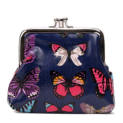 Miss Lulu Designer Oil Cloth Clasp Coin Purse (Butterfly Navy) from Miss Lulu