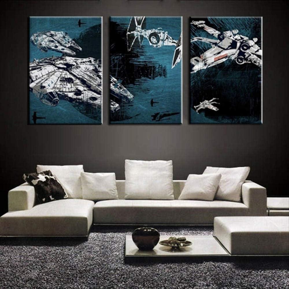 3 Partes Pintura De La Lona Nave Espacial Creativa Negra Decoración Frame Ilustraciones 3D Oficina Con Marco 35Cmx50Cmx3