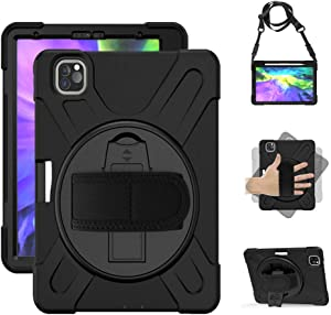 "Rantice iPad Pro 11 Case 2020 & 2018, Heavy Duty Rugged Shockproof Drop Protection Cover with 360 Stand, Pen Holder & Hand Strap & Shoulder Strap for iPad Pro 11"" (Black)"