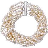 Joli bracelet à huit rangs en petites perles de culture d'eau douce baroques couleur Crème avec fermoir en argentcarte cadeau.