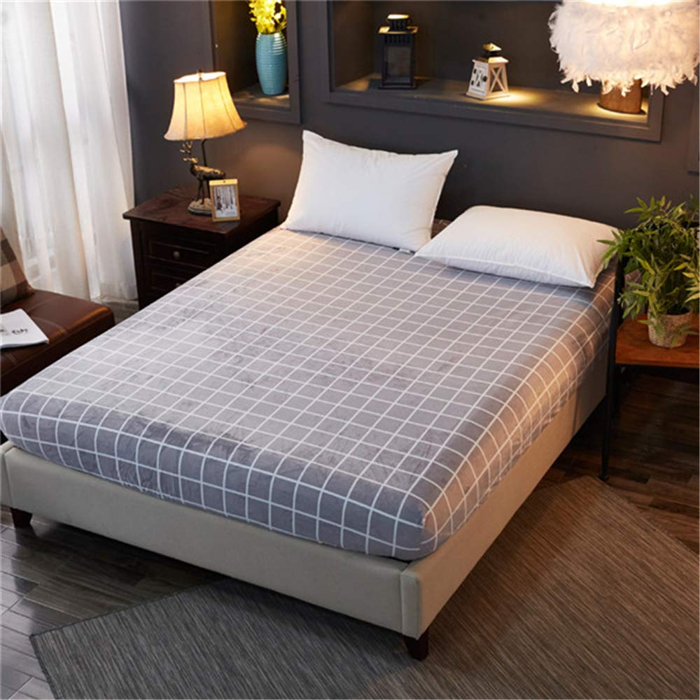 FENGDONG Velvet Warm Flannel Fleece Hight King Size Fitted Sheet Bed by FENGDONG