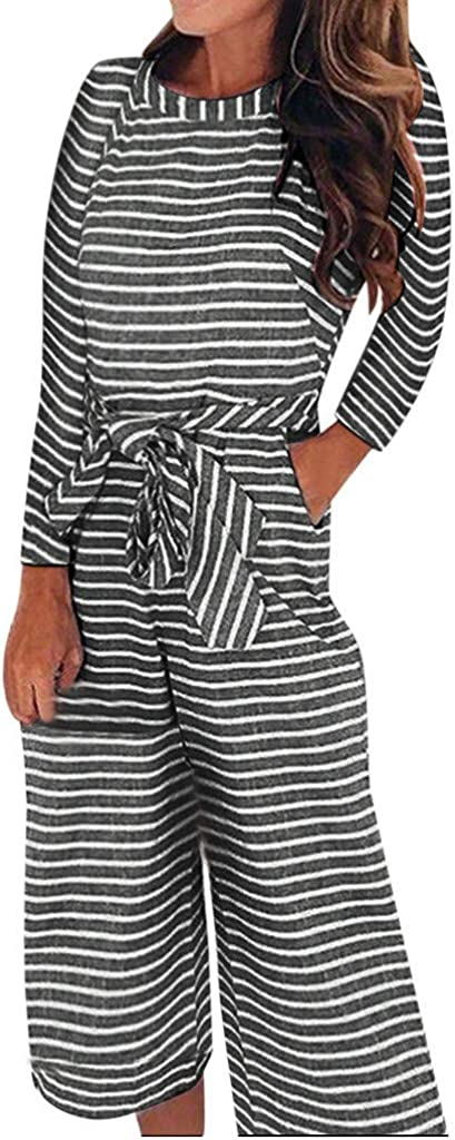 Women Long Sleeves Stripe Jumpsuits Urbling Fashion Round Neck Bow-Knot Bandage Shopping Office Ladies Rompers S-XL