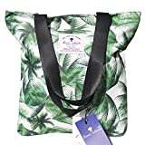 Waterproof Tote Bag,Original Floral Leaf Lightweight Fashion Shoulder Bag Lunch Bag for Shopping Yoga Gym Hiking Swimming Travel Beach