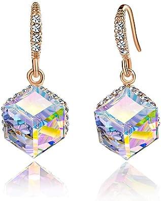 14K Swarovski Elements Black /& White Jewellery Set Statement Earrings /& Necklace