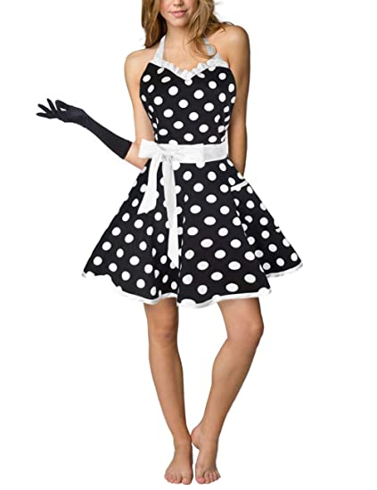 ef9f9163526 Amazon.com  Eternity J. Cute Cotton Polka Dot Kitchen Aprons Sexy ...