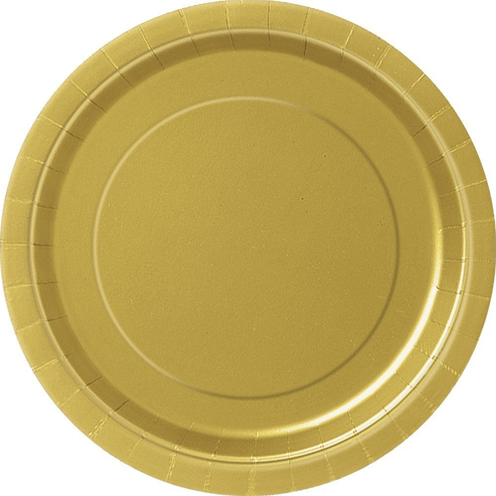 2 Pack of 50 Unique 7'' Gold Party Plates bundled by Maven Gifts
