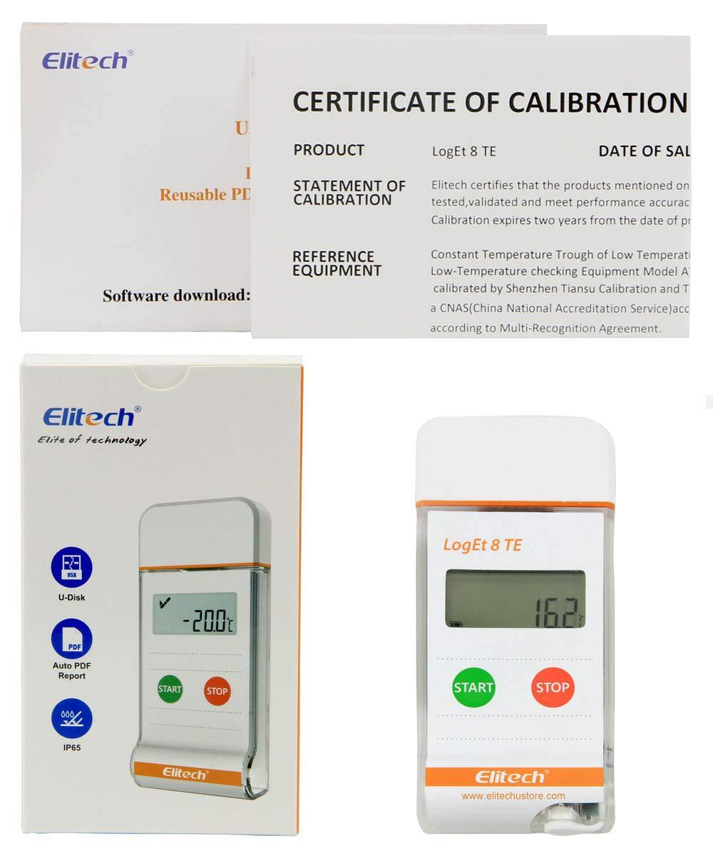 Elitech LogEt 8 Life Science Temperature Data Logger Reusable PDF Report USB Port 16000 Points