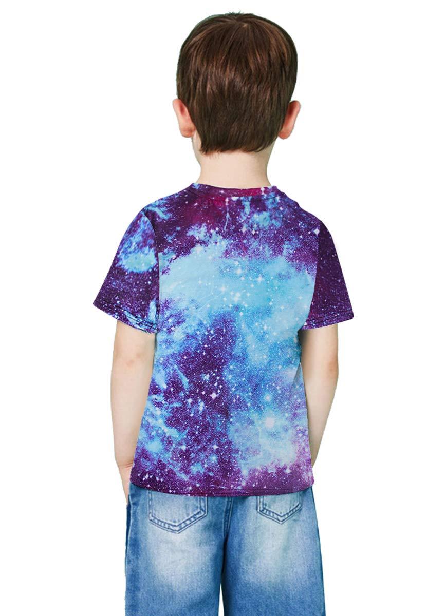 RAISEVERN 3D Printed Galaxy Tshirts Summer Casual Short Sleeve Tees T Shirt for Boys Girls Small