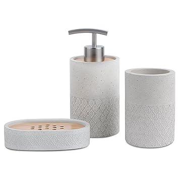 Badezimmer-Zubehör-Set in grau von Satu Brown, mit Seifenspender, Becher  und Seifenschale; japanischer Stil, Set zur Badezimmer-Dekoration, Geschenk  ...